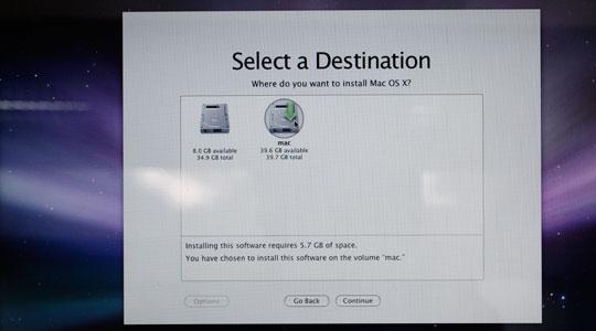 Изберете на кой дял да инсталирате системата.